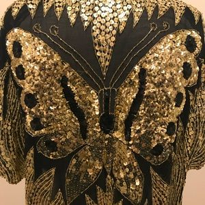 Vintage Sequins Butterfly Top